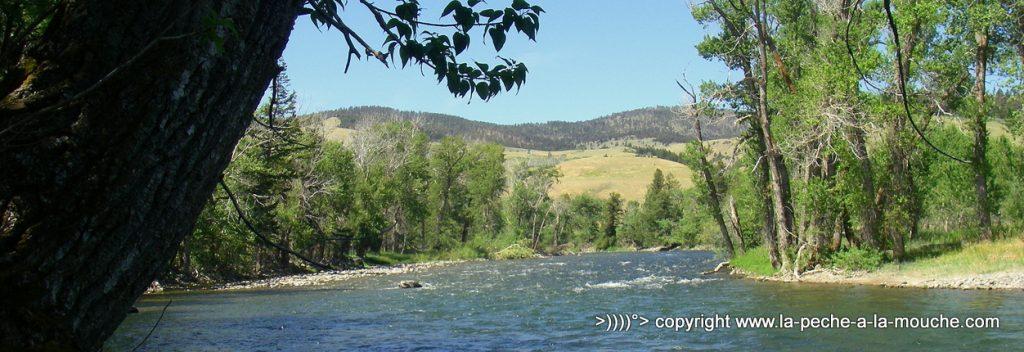 photo panorama dans le Montana de la Gallatin river.
